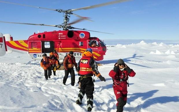 Rescatan a todos los pasajeros del barco atrapado en la Antártica