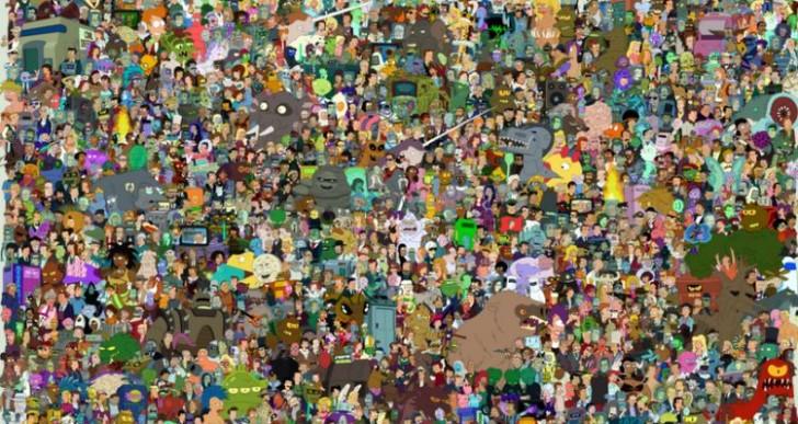 Recopilaron todos los personajes que aparecieron en Futurama en una sola imagen