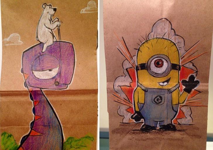 Papá del año: dibujó las bolsas para lunch de su hijo todos los días