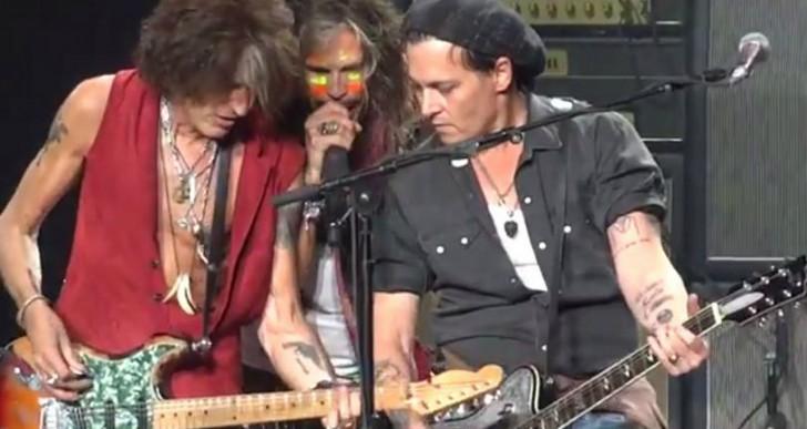 Johnny Depp es guitarrista de Aerosmith por una noche