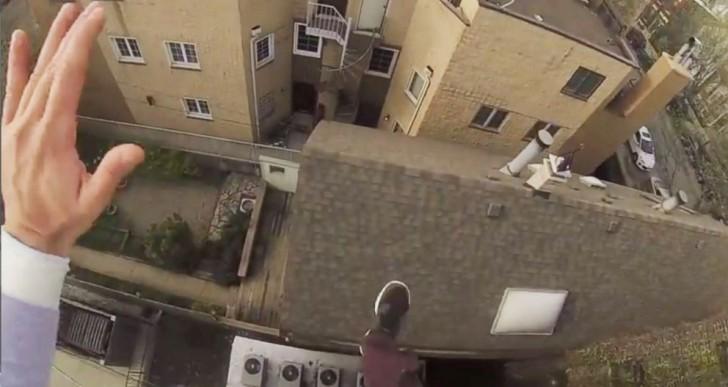 Así se ve desde una GoPro el salto de un edificio a otro