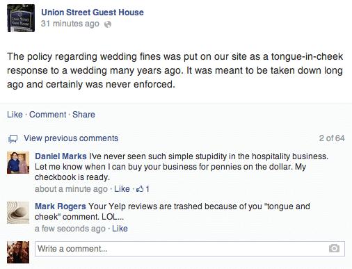 Este hotel multa a las novias de boda por las malas reseñas