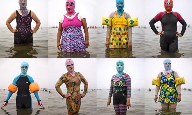 Facekini, el traje de baño para el rostro en China