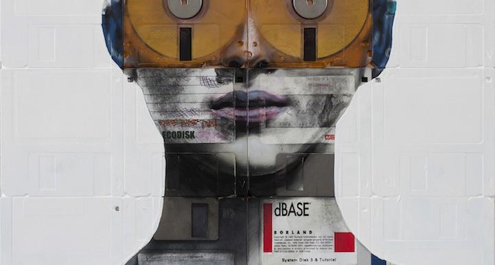 Artista crea retratos usando disquets y negativos de películas antiguas