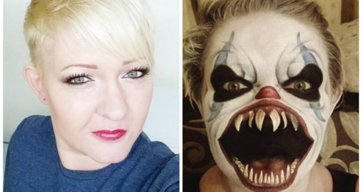 Con el poder del maquillaje esta mujer se convierte en terroríficos personajes