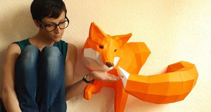 Animales convertidos en esculturas geométricas de papel por Paperwolf