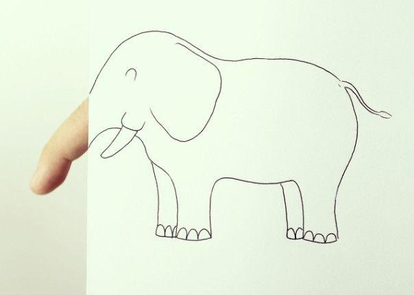Artista crea tiernos dibujos en donde incluye a sus propios dedos