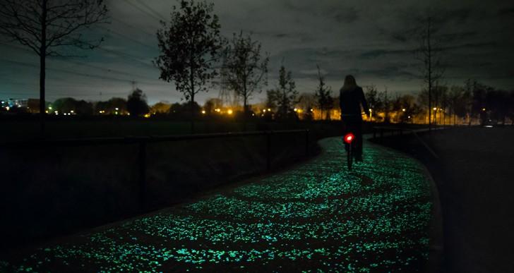 Mira este camino resplandeciente para ciclistas inspirado en Van Gogh