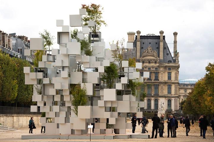 Mira esta increíble estructura hecha de cubos cuidadosamente acomodados