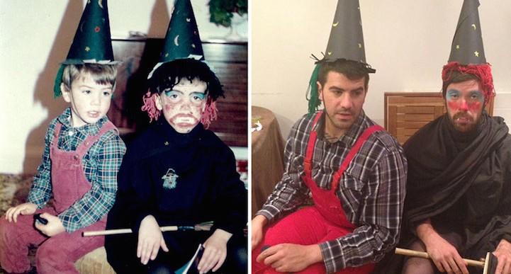 Estos dos hermanos decidieron repetir sus fotos de su infancia, causan más gracia que ternura
