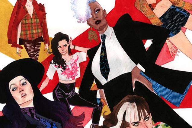 X-Men vestidos para una portada de una revista de moda