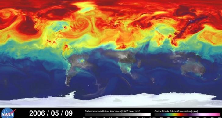 Timelapse del desplazamiento del CO2 en la atmósfera durante un año