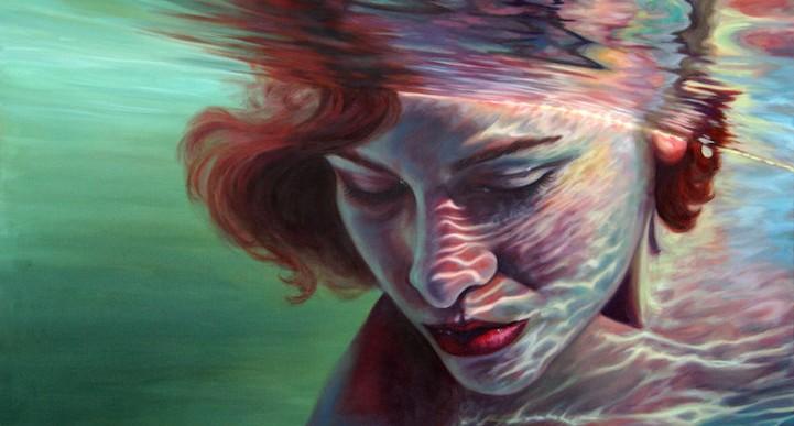 Las increíbles pinturas de oleo de mujeres sumergidas por Erika Craig