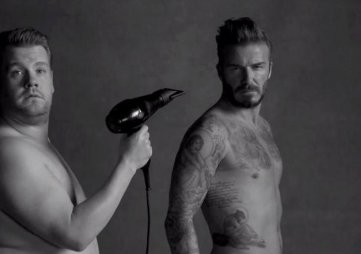 David Beckham hizo este comercial de ropa interior con James Corden