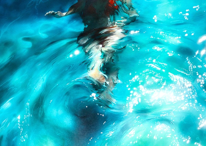 Estas pinturas abstractas muestran a personas brillando debajo del agua