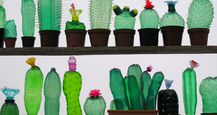 Esta artista reutiliza botellas de plástico PET para crear sus esculturas