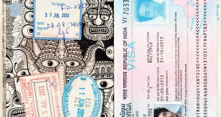 Esto es lo que pasa cuando un artista se divierte dibujando en su pasaporte