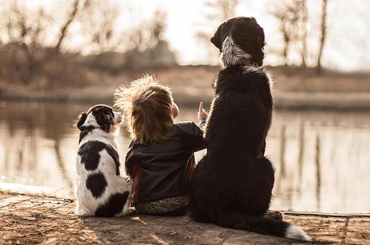 Esta madre captura cálidas fotos de su hijo con sus tres perros