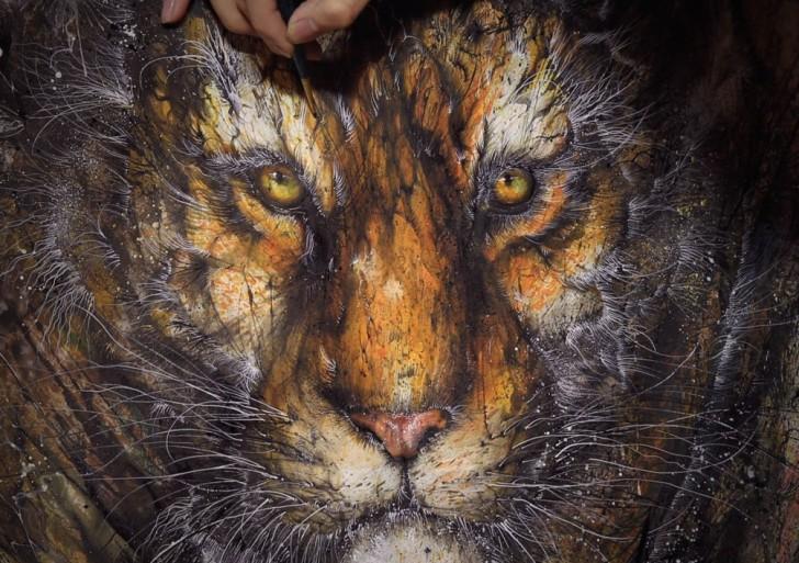 Estos animales hechos por salpicaduras son trabajo de Hua Tunan