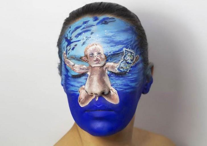 11 portadas de discos pintadas sobre el rostro
