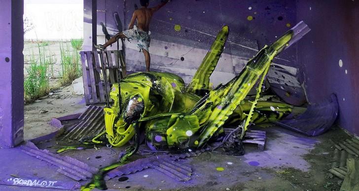 """Artista callejero utiliza desechos para crear """"grandes animales de basura"""""""