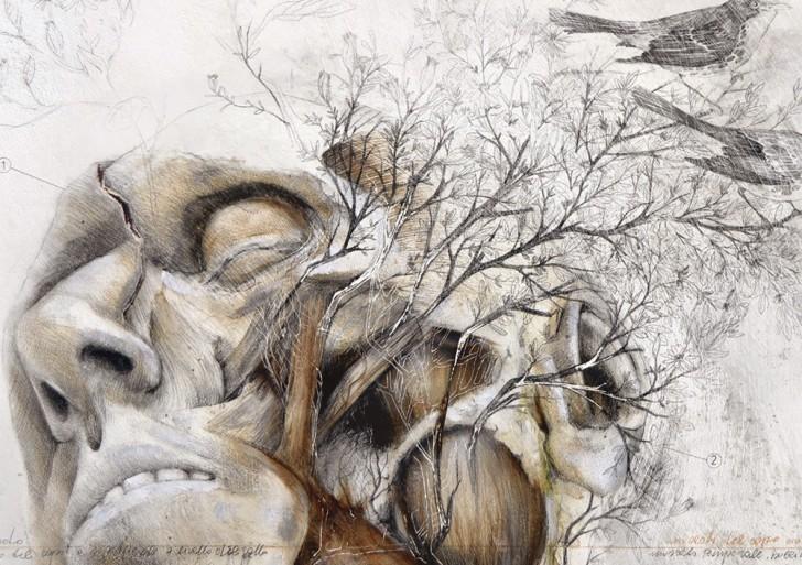 Animales y naturaleza crecen en cuerpos humanos con el trabajo de Nunzio Paci