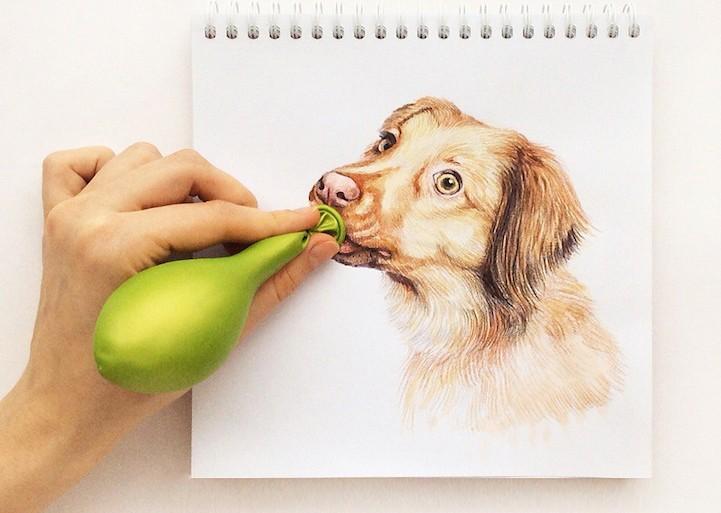 Checa estas ilustraciones de perros interactuando con el mundo real