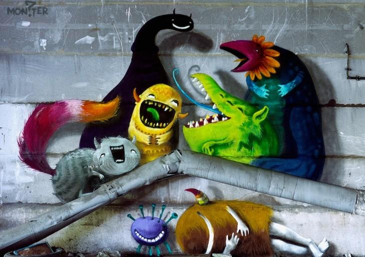 Kim Köster pinta divertidos monstruos en lugares abandonados
