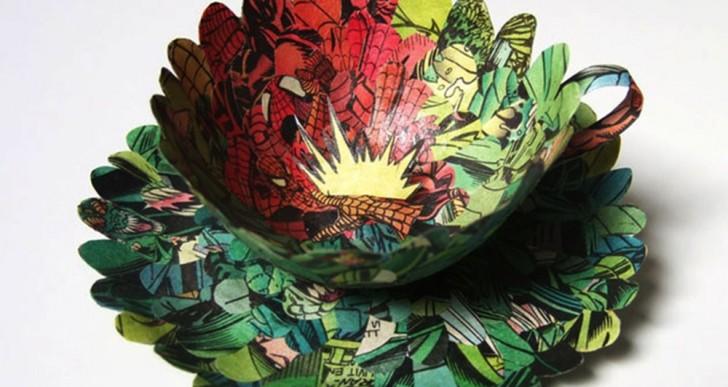 Cecilia Levy crea delicados y elaborados platos y tazas con piezas de comics