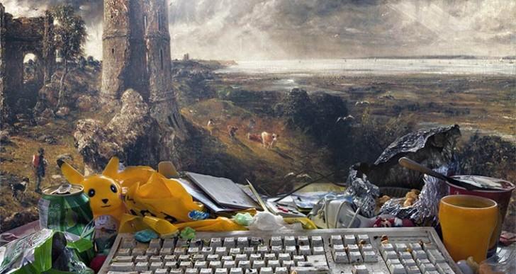 Escritorios sucios y desordenados coinciden con la pintura clásica