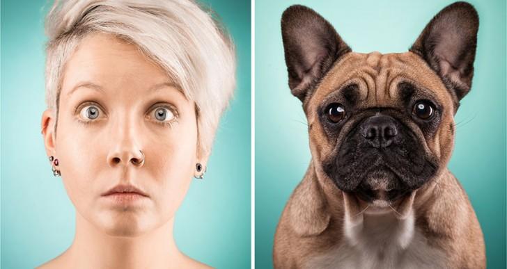 27 dueños de perros retratados imitando a sus mejores amigos