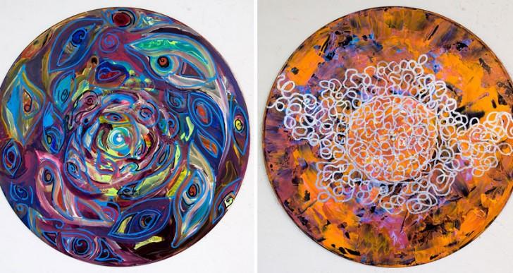 Excelentes mandalas pintadas sobre discos de vinilo