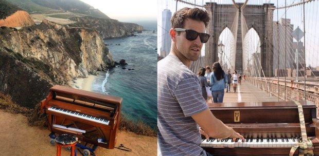 Renunció a su trabajo para tocar el piano alrededor del mundo.