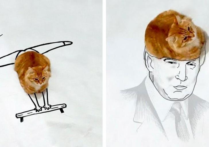 Gracias a los dibujos de muchas personas, este gatito se convirtió en un genial meme