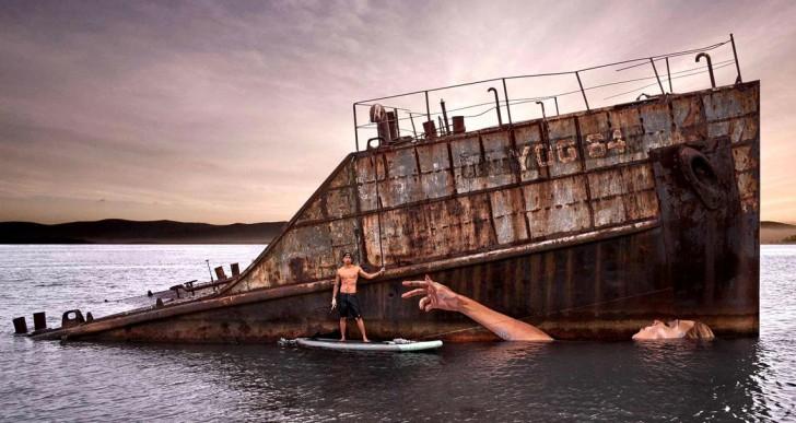 Este impresionante graffiti cambia con la marea
