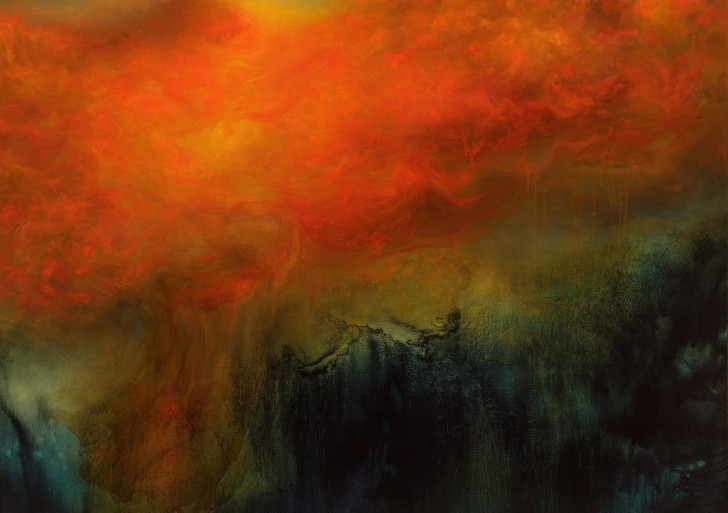 Artista pinta poderosas colisiones entre la luz y la oscuridad
