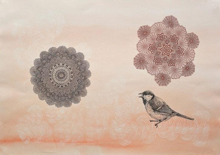 Los patrones en la naturaleza con pluma y tinta de Mami Yamanaka