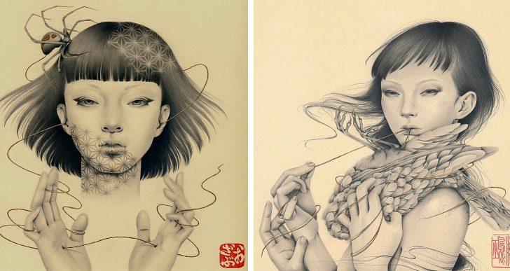 Ozabu crea retratos de mujeres fusionadas con plantas y plumas