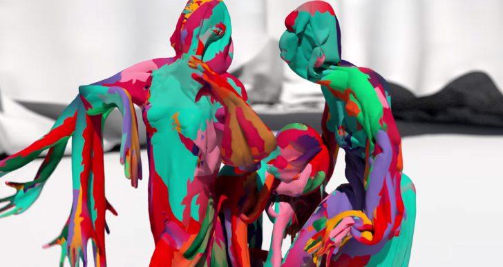 Cuerpos de varios colores bailan, se fusionan y se dividen en este corto animado