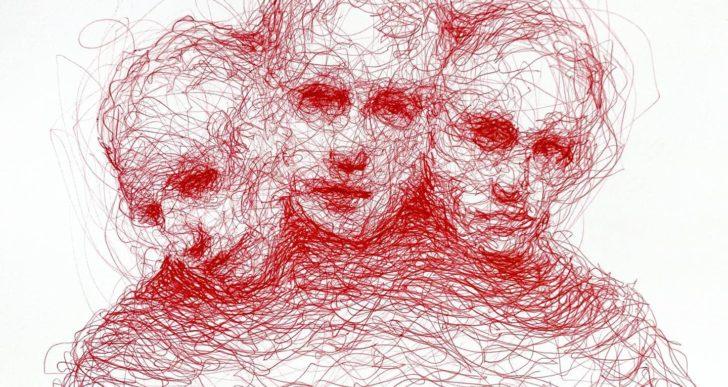 Caras melancólicas hechas de garabatos con pluma