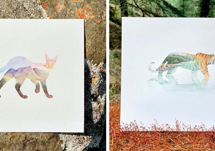 Los animales y los paisajes se combinan en las acuarelas de Sujay Sanan