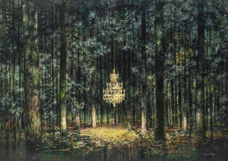 Estas pinturas muestran bosques con elementos de interiores