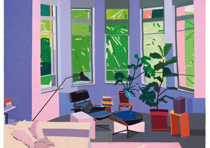Ambientes domésticos pintados cuidadosamente con líneas por Guy Yanai