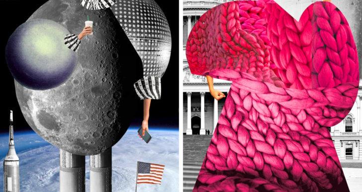 Texturas amontonadas se vuelven figuras femeninas alargadas