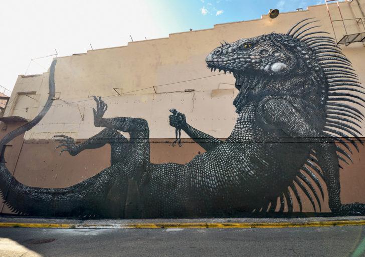 Increíbles murales de animales en blanco y negro por ROA