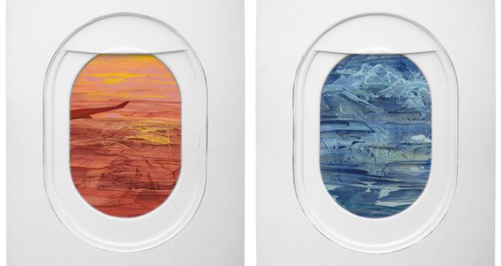 Paisajes pintados en ventanas de avión