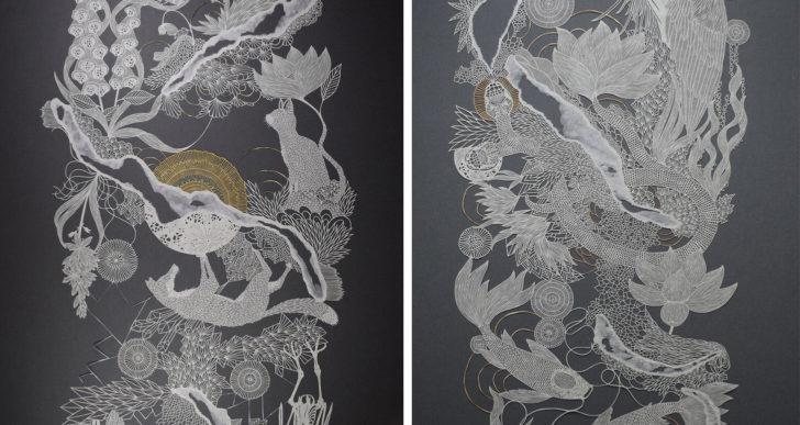 Detalladísimas obras de papel recortado por Pippa Dyrlaga