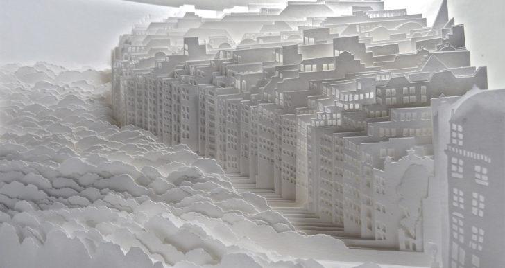 Densos paisajes naturales y urbanos hechos con papel por Ayumi Shibata
