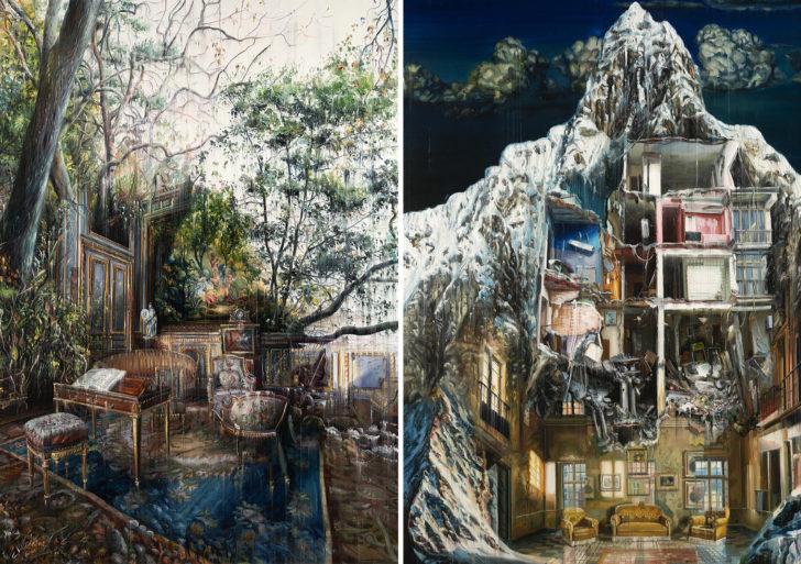 Las pinturas de Jacob Brostrup combinan interiores con exteriores