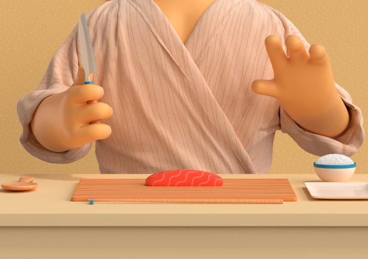 Una demostración de los pasos emocionales detrás de hacer un sushi